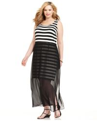 Vince Camuto Plus Size Sleeveless Striped Overlay Maxi Dress - Lyst