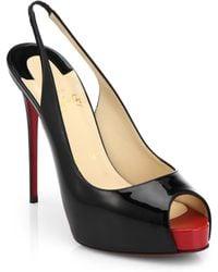 Christian Louboutin Private Patent Leather Peep-Toe Slingback Pumps black - Lyst