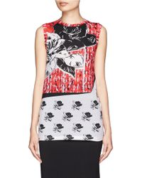 Prabal Gurung Rose Collage Print Jersey Tank Top - Lyst