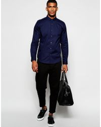 Wincer & Plant - Smart Shirt In Stretch Cotton With Penny Collar Slim Fit Exclusive - Lyst