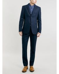 Topman Made in England Blue Suit Jacket - Lyst