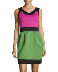 BCBGMAXAZRIA Sleeveless Colorblock Stretchknit Dress - Lyst