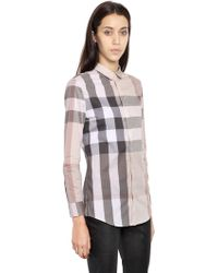 Burberry Brit - Macro Checked Cotton Shirt - Lyst