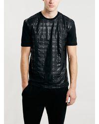 Topman Foil Check Crew Neck T-shirt - Lyst