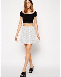 Asos Mini Quilted Skater Skirt - Lyst