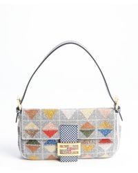 Fendi Grey Beaded Convertible Baguette Clutch - Lyst