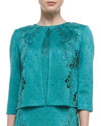 St. John Collection Floral Cascade Jacquard Knit Jewel Neck Jacket - Lyst