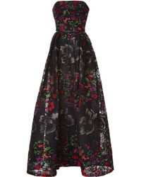 Elie Saab Embroidered Floral Guipure Strapless Gown - Lyst