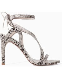 Zara High Heel Snake Print Leather Sandal - Lyst