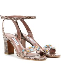 Tabitha Simmons Leticia Snake-Effect Leather Sandals - Lyst