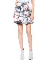Carven Printed Sateen Skirt Multi - Lyst