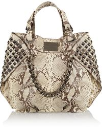 Balmain Studded Snake-effect Leather Tote - Lyst