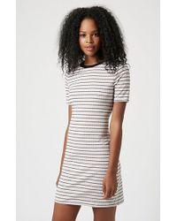 Topshop Short Sleeve Stripe Body-Con Dress white - Lyst