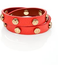 Tory Burch Logo Stud Saffiano Leather Double-Wrap Bracelet - Lyst
