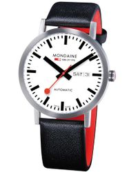 Mondaine - 'classic' Automatic Leather Strap Watch - Lyst