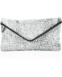 Mr. Taylor Two-Tone Pebbled Leather Envelope Zip Clutch silver - Lyst