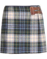 Ralph Lauren Wool Plaid Mini Skirt - Lyst