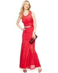 Betsy & Adam Open-Back Lace Gown - Lyst