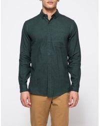 Topman | Longsleeve Green/black Twill | Lyst