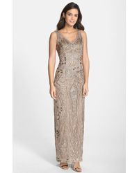 Sue Wong Beaded Soutache V-Neck Column Gown - Lyst