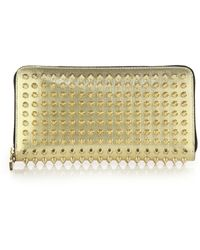 Christian Louboutin Panettone Studded Metallic Continental Wallet gold - Lyst
