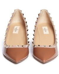 Valentino Rockstud Patent Leather Wedge Pumps - Lyst