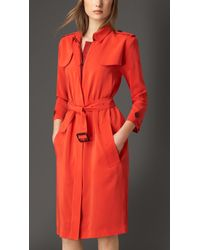 Burberry Silk Trench Coat Dress - Lyst