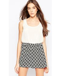 Madam Rage - Playsuit With Contrast Printed Shorts - Lyst