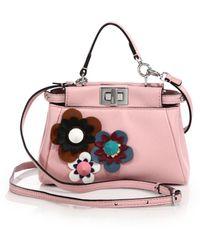 b278b88dd73 fendi peekaboo micro flower-embellished leather satchel