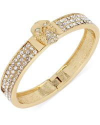 Betsey Johnson Goldtone Owl Crystal Pavé Bangle Bracelet - Lyst