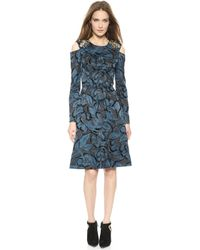 Vera Wang Collection Flocked Floral Dress Marine Blue - Lyst