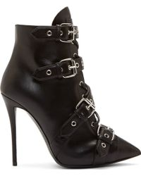 Giuseppe Zanotti Black Leather Eyelet Buckle Ankle Boots - Lyst
