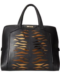 Just Cavalli Tiger Carved Leather Top Handle Bag - Lyst