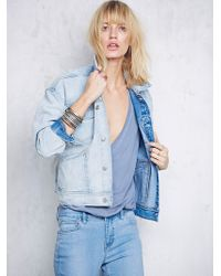 Free People Dropped Shoulder Denim Jacket - Lyst