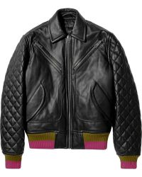Jonathan Saunders Marley Cashmeretrimmed Leather Bomber Jacket - Lyst