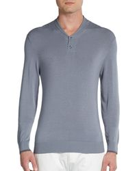 Armani Shawl Collar Knit Sweater - Lyst