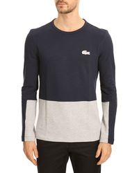 Lacoste Mottled Grey and Navy Twotone Longsleeved Tshirt - Lyst