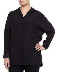 Lafayette 148 New York Selma Silk Long-Sleeve Blouse, Black - Lyst