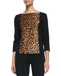 St. John Collection Knit Bateau Neck 34sleeve Top - Lyst
