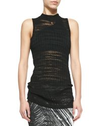 Helmut Lang Sheer Sleeveless Long Fitted Sweater - Lyst