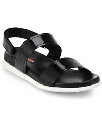 Prada Patent Leather Flat Sandals - Lyst