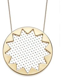 House Of Harlow Gold-tone Patent Leather Sunburst Pendant Necklace - Lyst