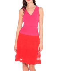 M Missoni Colorblock Rib Stitched Dress - Lyst