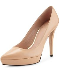 Stuart Weitzman Point Goatskin Pointy-toe Pump - Lyst