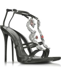 Giuseppe Zanotti Dragon Strass Black Silk High Heel Sandal - Lyst