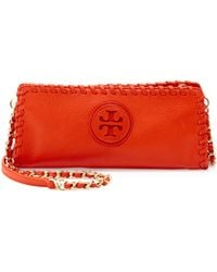 Tory Burch Marion Whipstitch Crossbody Clutch Bag Orange - Lyst