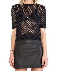 T By Alexander Wang Open Knit Short Sleeve Pullover - Lyst