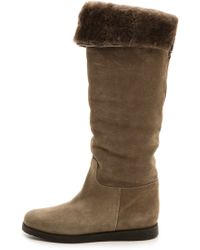 Ferragamo My Ease Shearling Tall Boots Moss - Lyst