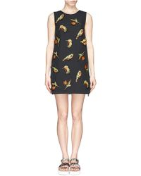 MSGM Neon Bird Appliqué Wrap Back Dress - Lyst