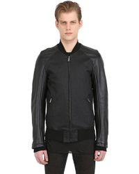 Gareth Pugh Leather & Stretch Denim Bomber Jacket - Lyst